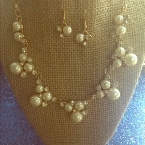 Jewelry - Clustered faux pearls in gold or silver underlay!